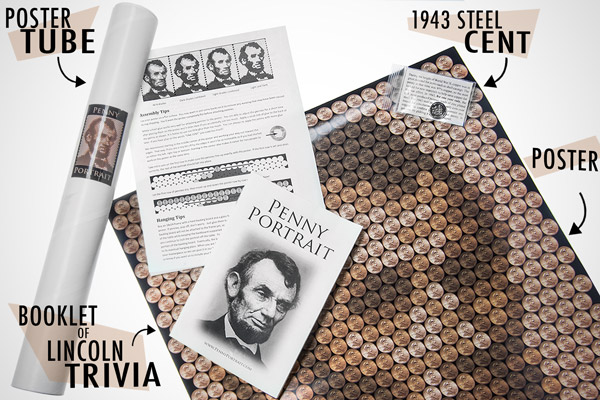 The Penny Portrait is packaged in a poster tube including a template poster, a 1943 steel penny, instructions, and a Lincoln trivia pamphlet.