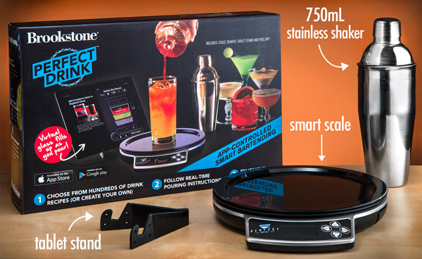 The perfect drink by brookstone comes with a tablet stand for Perfect drink bluetooth scale