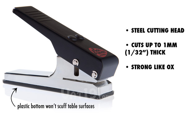The Pick Punch features a strong steel head for punching picks.