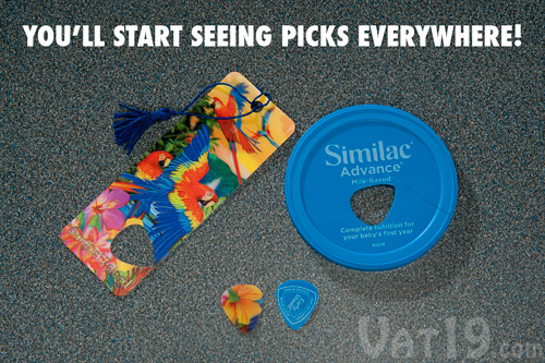 Turn many plastic materials around the house into guitar picks.