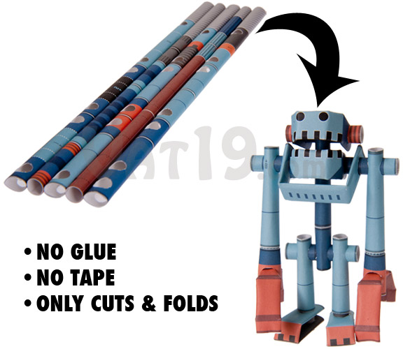 Piperoid Paper Pipe Robots are made by simply cutting and folding a series of paper pipes.