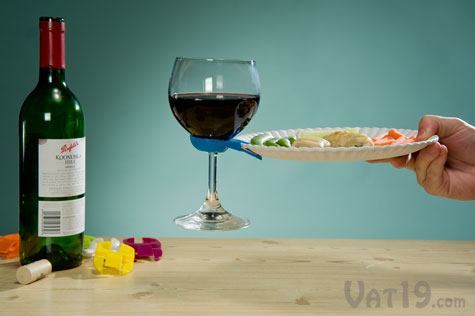 Wine Glass Plate Clips allow you to carry your plate and glass of wine in one hand.