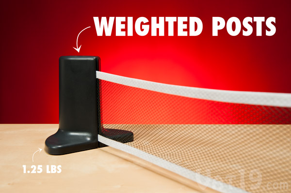Pongo's weighted posts ensure the net is always taut.