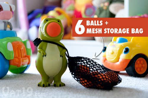 Each Popper includes six foam balls and a mesh storage bag.