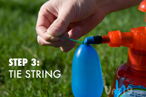 Step 3: Tie the balloon with the string.