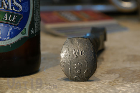 Railroad Spike Bottle Opener Detail