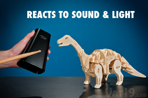 The R/C Dinosaur can react to sounds and changes in light.