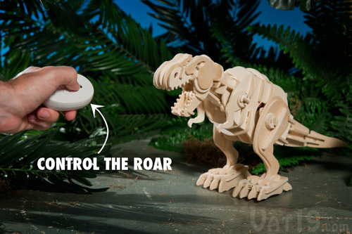 Use the included remote to make your dinosaur roar!