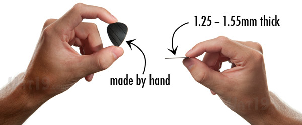 The Vinyl Record Guitar Picks are made by hand and are approximately 1.25-1.55mm thick.