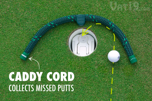 The included Caddy Cord marshalls missed putts into the cup so they can be returned as well.