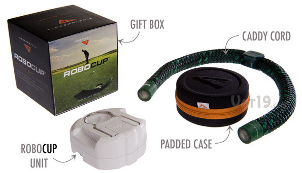 Contents of the RoboCup Ball Return Robot and Caddy Cord gift set.