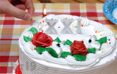 Roman Numeral Candles on a Cake