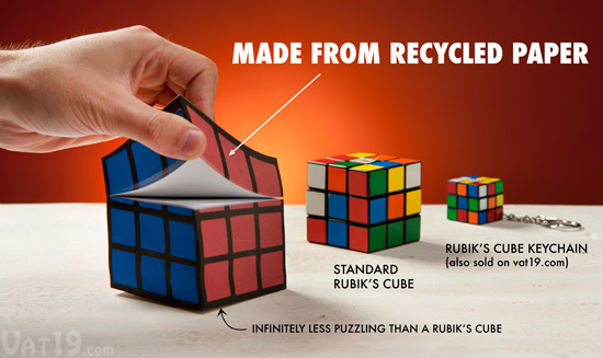 The Rubik's Cube Notepad is made from recycled paper.