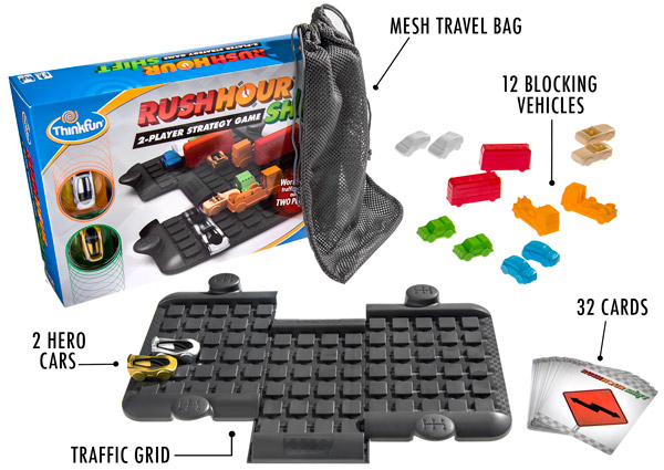 The complete game set includes a traffic grid, card deck, twelve cars, two player cars, and a mesh carrying bag.