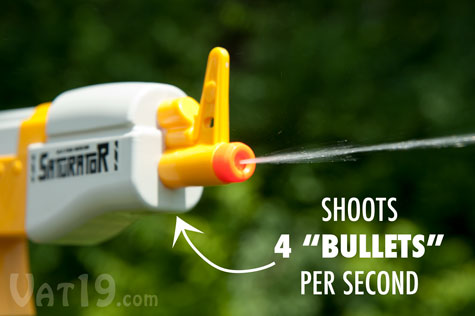 The Saturator AK 47 water rifle shoots 4 water bullets per second.