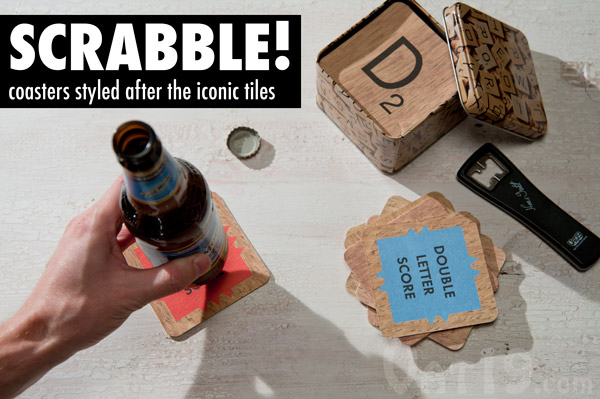 Coasters styled after Scrabble tiles.