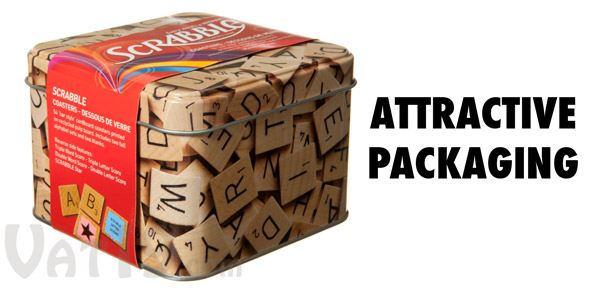 Scrabble Coasters are packaged in an atractive tin box.