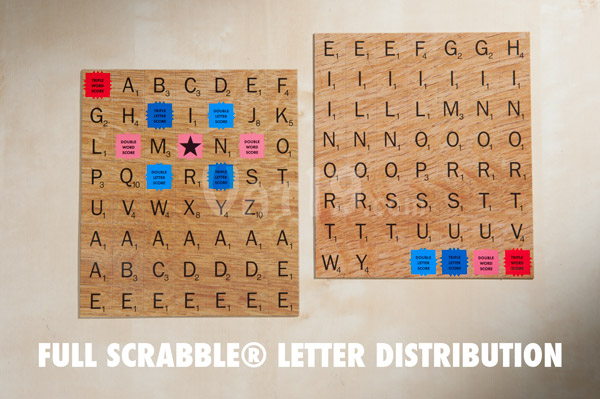 The Scrabble Magnetic Refrigerator Tile Set includes the full Scrabble letter distribution.