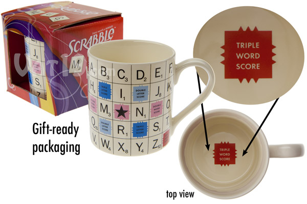 The SCRABBLE tile mug from various views.