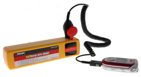Use the SelfCharge Auto Jumper to charge cell phones, PDAs, and other devices.