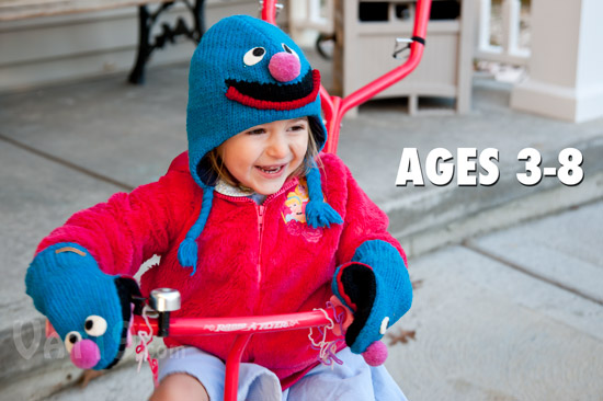 Young girl wearing the Grover Knit Wits Pilot Hat and Mittens.