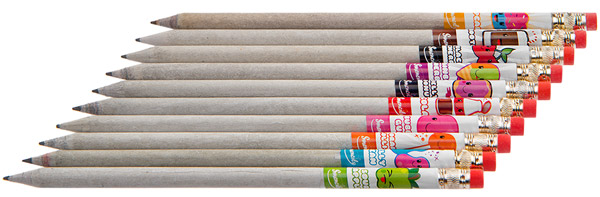 Ten recycled newspaper graphite pencils in ten delicious scents