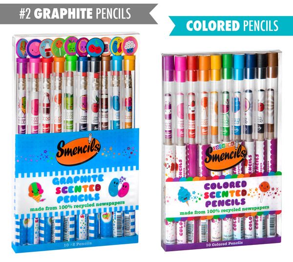 Smencils come in either ten graphite or ten color pencils.