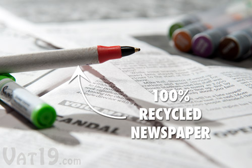The barrel of the Smen is made from 100% recycled newspaper.