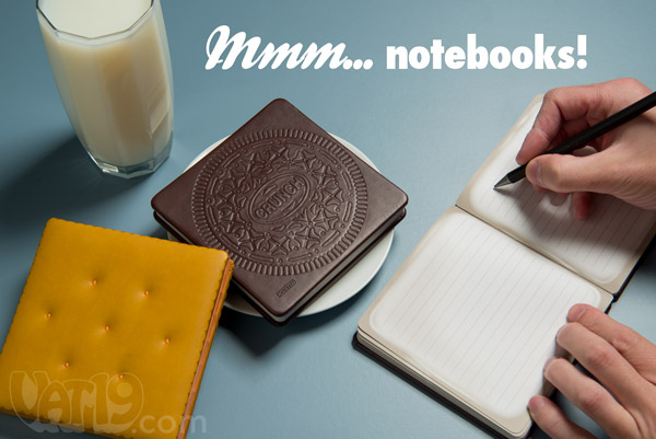 Notebooks that look like snack treats such as cheese crackers and oreos.