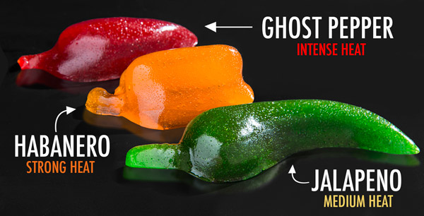 Each set of Spicy Gummy Peppers includes one each of three delicious candies.