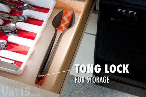 The locking mechanism ensures a smaller footprint for storing the Spoon Tongs.