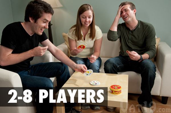 The Spot It! Party Game requires 2-8 players.