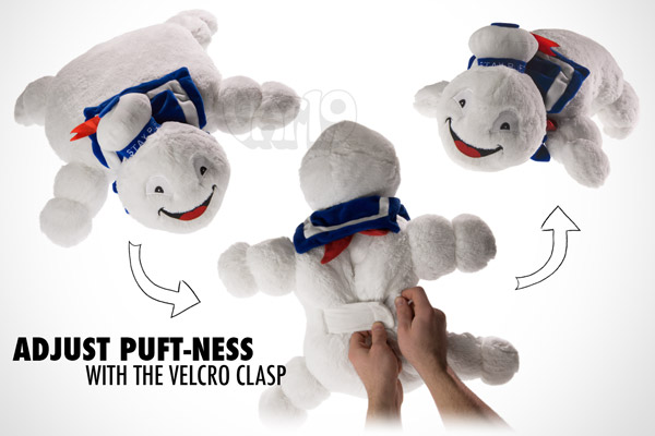 Use the velcro strap to adjust the puft-ness of the Ghostbusters pillow.