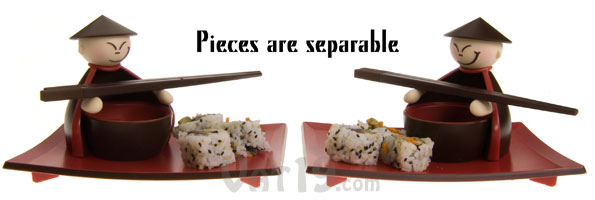 Each purchase includes two sushi serving sets. You get two serving plates, two sets of chopsticks, and two dipping bowls and holders.