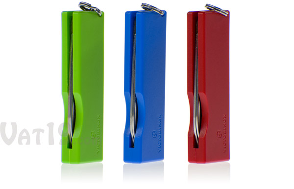 The Swiss Army Knife Keychain is available in a variety of bright colors.