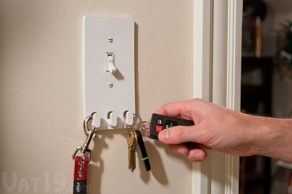 Switch Hooks turns your light switch into a storage area for your keys.