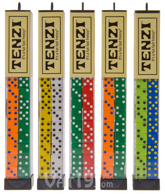 All packages of Tenzi feature four random dice colors.