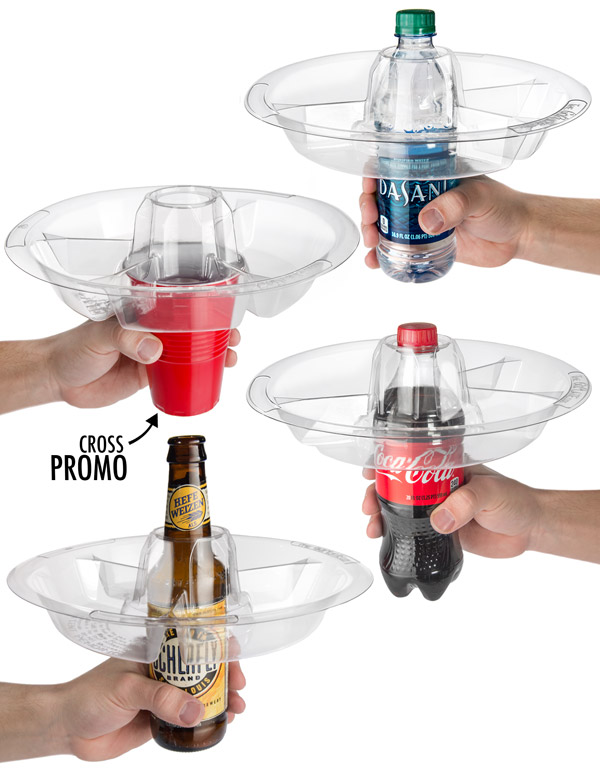 GoPlates fit over cans, bottles, and cups