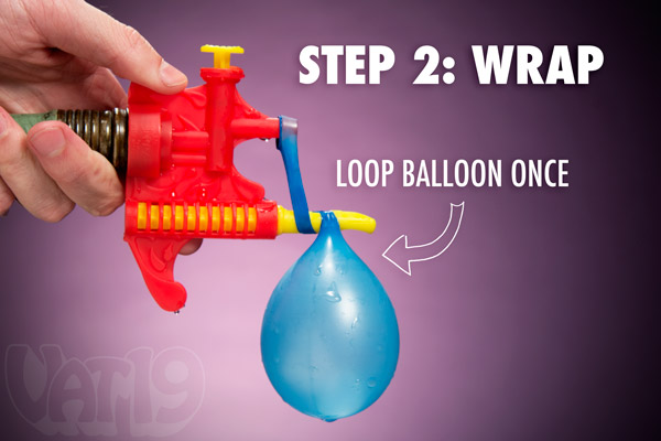 Step 2: Wrap the balloon once around the Tie-Not tying tool.