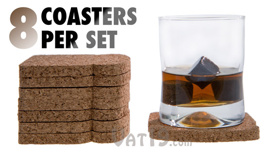 Each set of ToastIt Coasters includes 8 cork coasters.