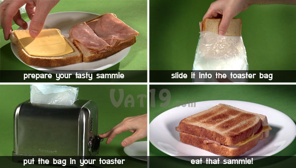 Quick and easy to toast sandwiches using the ToastIt Toaster Bag.