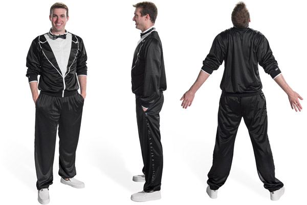 Front, side, and rear views of the Traxedo Tracksuit.