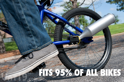 The Turbospoke Bicycle Exhaust System fits 95% of all bicycles.