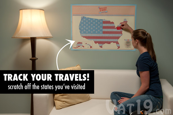 Track your travels with the USA scratch map.