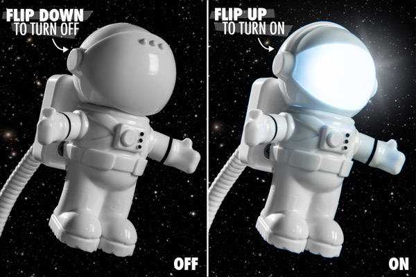 Flip the astronaut's visor to turn the light on and off.