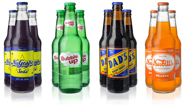 12-pack of Vintage American Sodas including NuGrape, Bubble Up, Dad's Root Beer, and Nesbitt's Orange Soda.