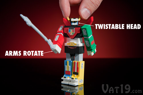 Twist the head and arms of the Voltron USB Flash Drive.