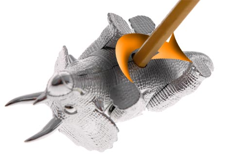 Sharpen your pencil with your walking Triceratops