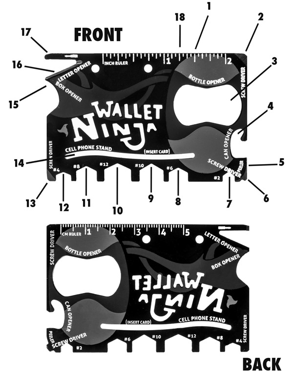 Front and back views of the Wallet Ninja Multi-Tool.