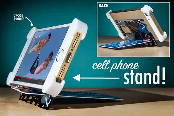 The Wallet Ninja includes an ingenious cellphone stand.